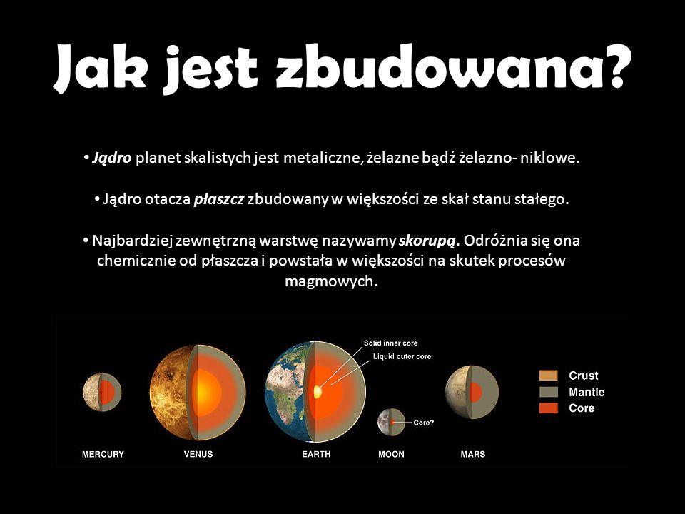 A w Układzie Słonecznym… W Układzie Słonecznym planetami skalistymi są: Merkury Wenus Ziemia + Księżyc Mars Wewnętrzny układ słoneczny Planety te nie posiadają pierścieni, mają też niewiele satelitów - Merkury i Wenus nie posiadają żadnych, Marsa okrążają dwie niewielkie przechwycone planetoidy, a Ziemia tworzy ze swoim jedynym Księżycem układ podwójny.