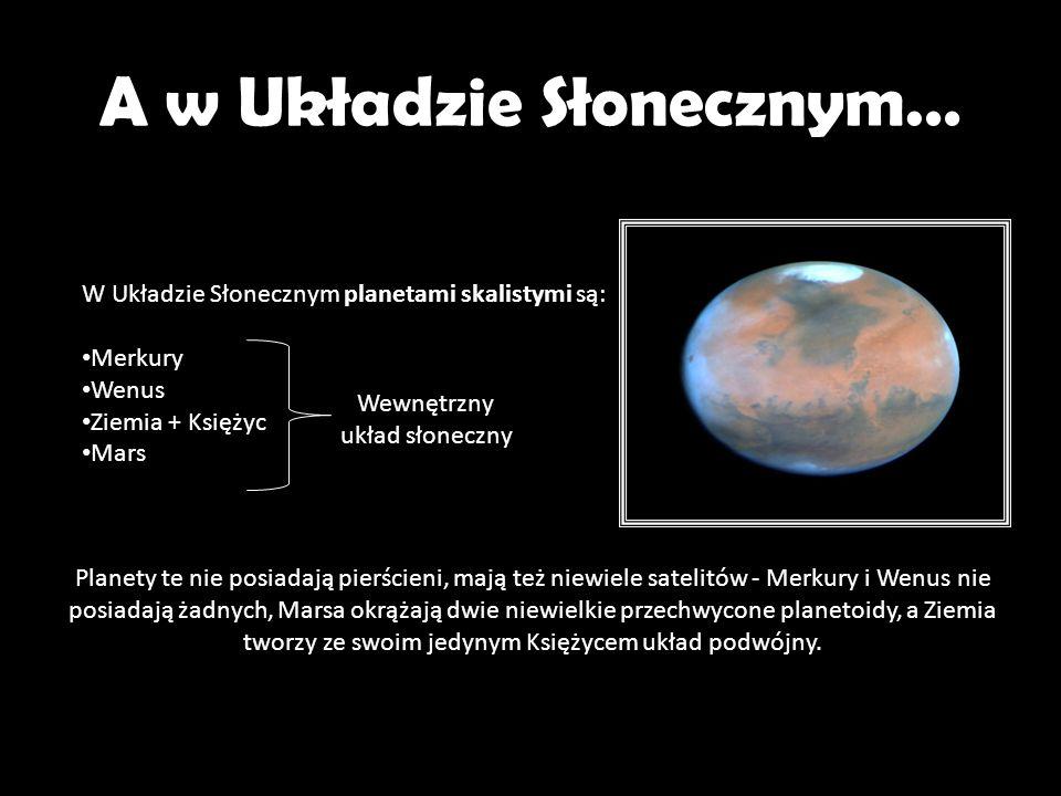 A w Układzie Słonecznym… W Układzie Słonecznym planetami skalistymi są: Merkury Wenus Ziemia + Księżyc Mars Wewnętrzny układ słoneczny Planety te nie