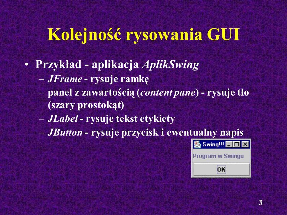 14 Aplet Rysunek import javax.swing.*; import java.awt.*; public class Rysunek extends JApplet { public void init() { panelRys mojPanel = new panelRys(); getContentPane().add(mojPanel, BorderLayout.CENTER); }