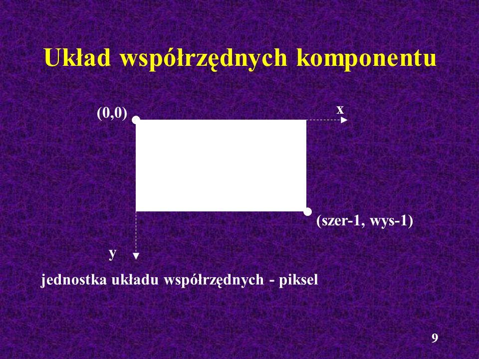 10 Ustalanie wymiarów komponentu Określanie wymiarów komponentu (metody klasy JComponent) int getWidth() int getHeight() Rysowanie obramowania - zmniejszenie wymiaru komponentu Określenie rozmiaru obramowania - metoda getInsets(), np.