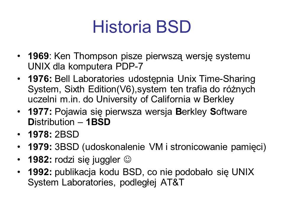 Historia BSD 1969: Ken Thompson pisze pierwszą wersję systemu UNIX dla komputera PDP-7 1976: Bell Laboratories udostępnia Unix Time-Sharing System, Si