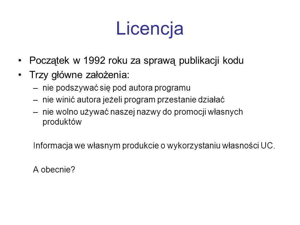 Licencja Początek w 1992 roku za sprawą publikacji kodu Trzy główne założenia: –nie podszywać się pod autora programu –nie winić autora jeżeli program