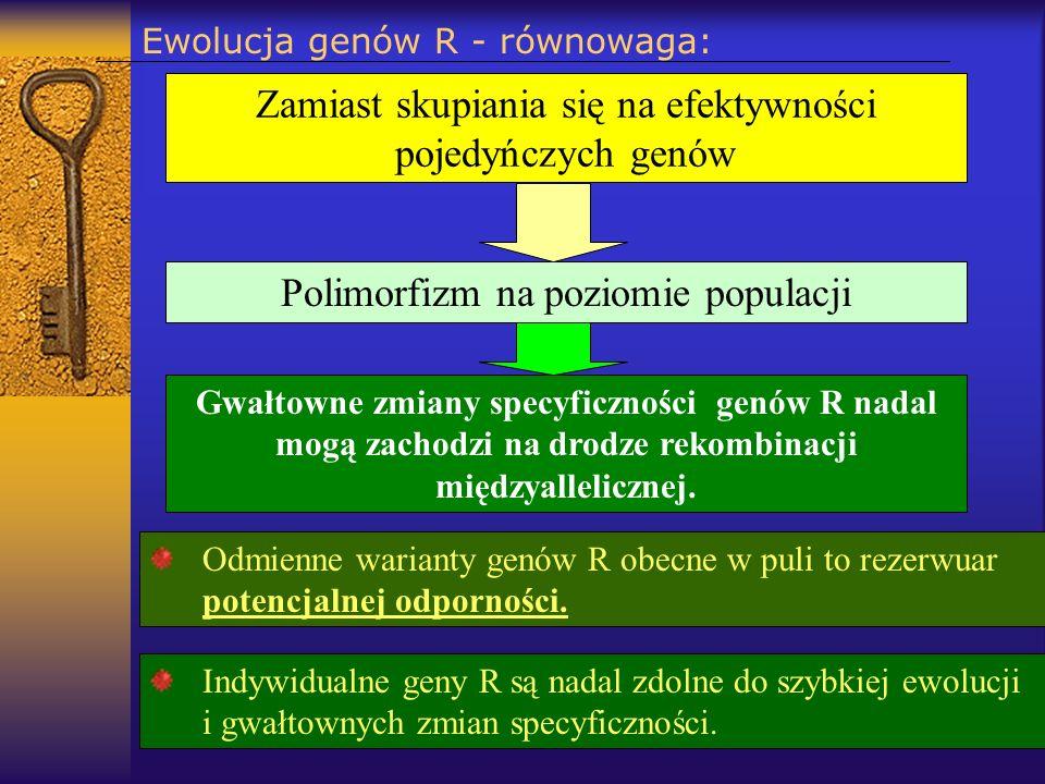 Ewolucja genów R - równowaga: Odmienne warianty genów R obecne w puli to rezerwuar potencjalnej odporności. Zamiast skupiania się na efektywności poje