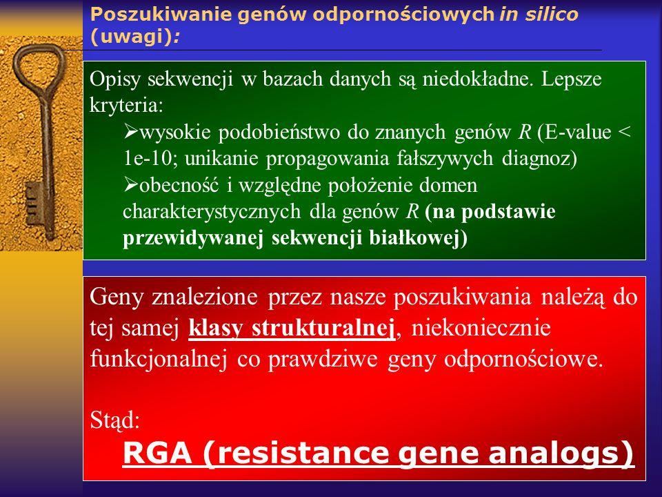 Poszukiwanie genów odpornościowych in silico (uwagi): Geny znalezione przez nasze poszukiwania należą do tej samej klasy strukturalnej, niekoniecznie