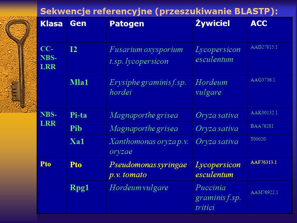 Sekwencje referencyjne (przeszukiwanie BLASTP): KlasaGenPatogenŻywicielACC CC- NBS- LRR I2Fusarium oxysporium t.sp. lycopersicon Lycopersicon esculent
