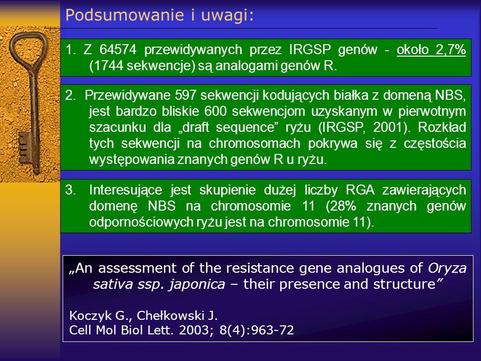 Podsumowanie i uwagi: 1. Z 64574 przewidywanych przez IRGSP genów - około 2,7% (1744 sekwencje) są analogami genów R. 2. Przewidywane 597 sekwencji ko