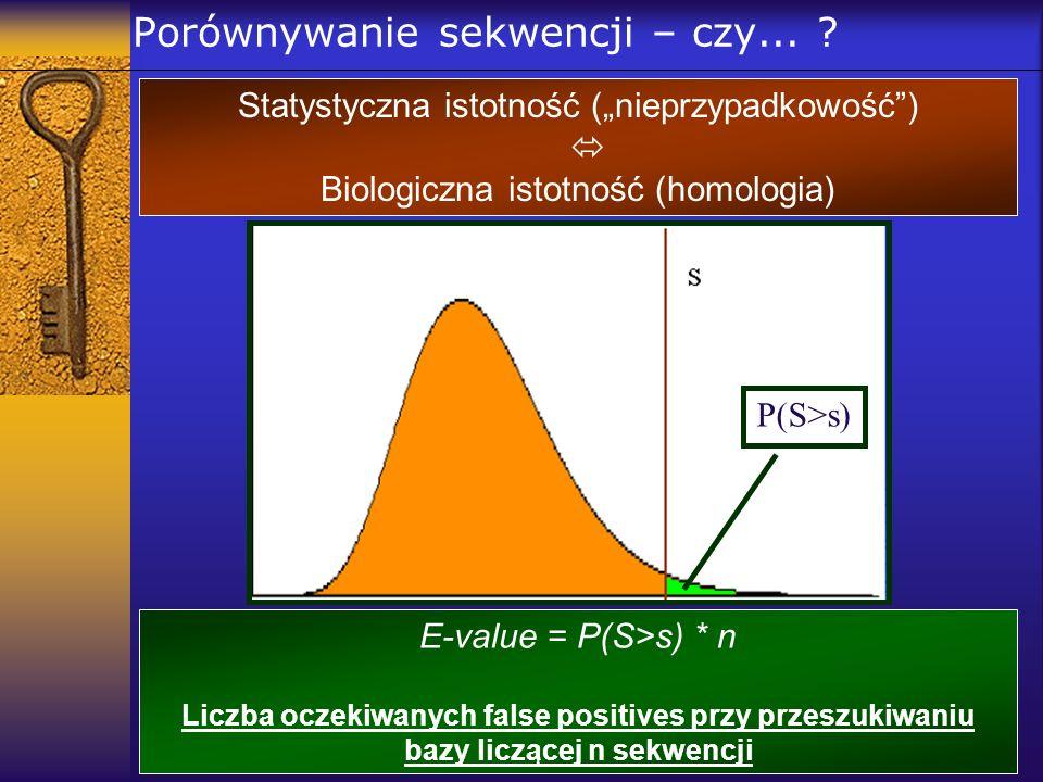 Porównywanie sekwencji – czy... ? Statystyczna istotność (nieprzypadkowość) Biologiczna istotność (homologia) P(S>s) E-value = P(S>s) * n Liczba oczek