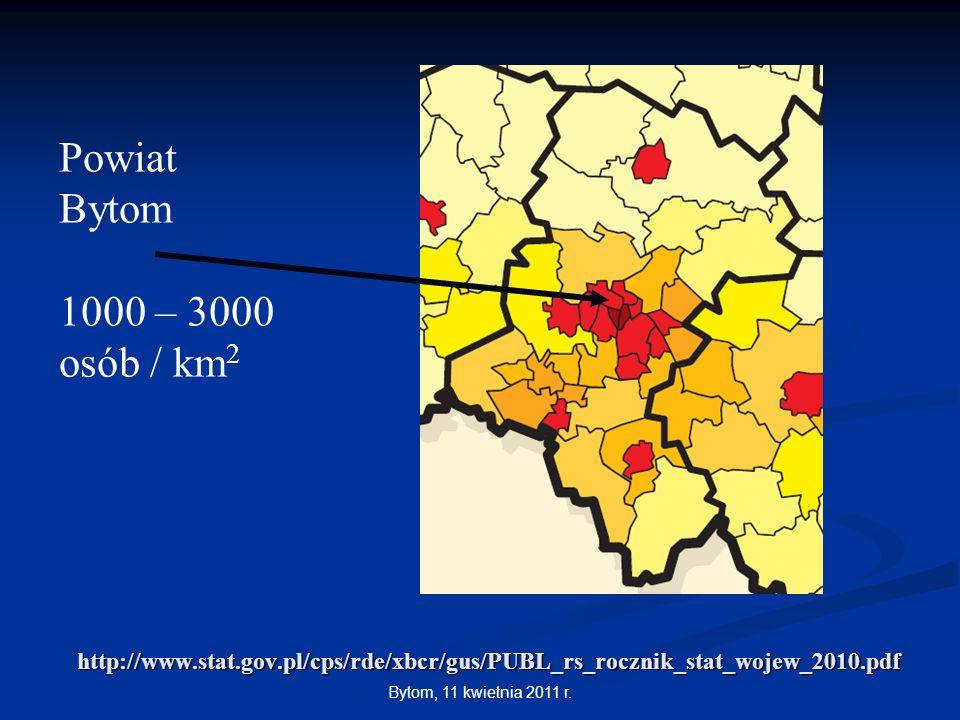 Bytom, 11 kwietnia 2011 r. http://www.stat.gov.pl/cps/rde/xbcr/gus/PUBL_rs_rocznik_stat_wojew_2010.pdf Powiat Bytom 1000 – 3000 osób / km 2