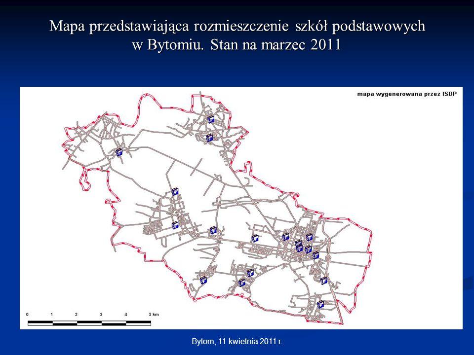 Bytom, 11 kwietnia 2011 r. Mapa przedstawiająca rozmieszczenie szkół podstawowych w Bytomiu. Stan na marzec 2011