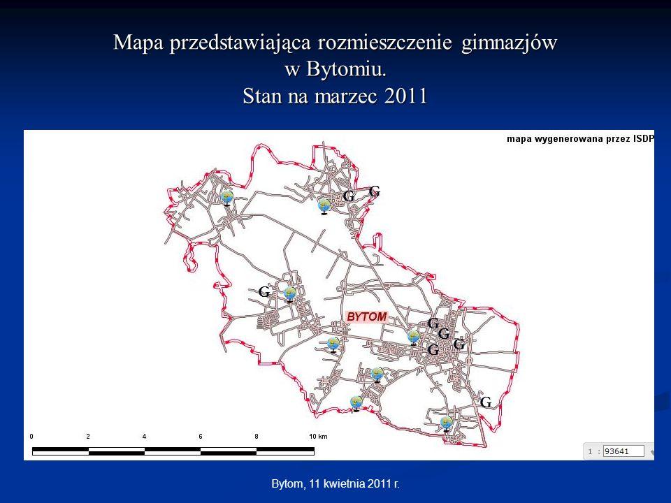 Bytom, 11 kwietnia 2011 r. Mapa przedstawiająca rozmieszczenie gimnazjów w Bytomiu. Stan na marzec 2011 G G G G G G G G