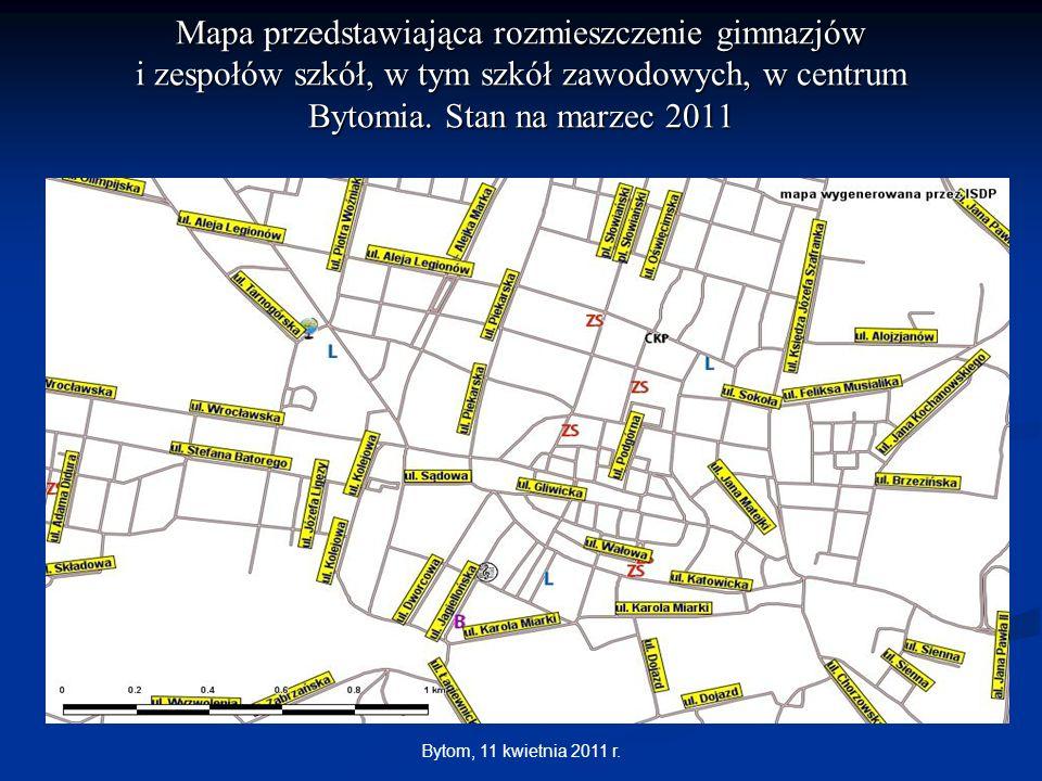 Bytom, 11 kwietnia 2011 r. Mapa przedstawiająca rozmieszczenie gimnazjów i zespołów szkół, w tym szkół zawodowych, w centrum Bytomia. Stan na marzec 2
