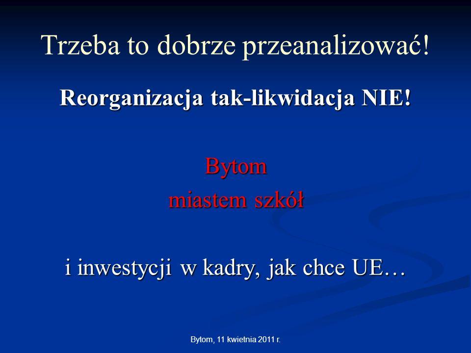 Bytom, 11 kwietnia 2011 r. Reorganizacja tak-likwidacja NIE! Bytom miastem szkół i inwestycji w kadry, jak chce UE… Trzeba to dobrze przeanalizować!