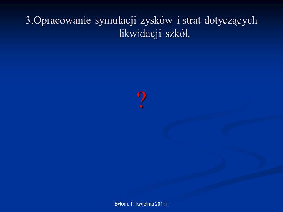 Bytom, 11 kwietnia 2011 r. 3.Opracowanie symulacji zysków i strat dotyczących likwidacji szkół. ?