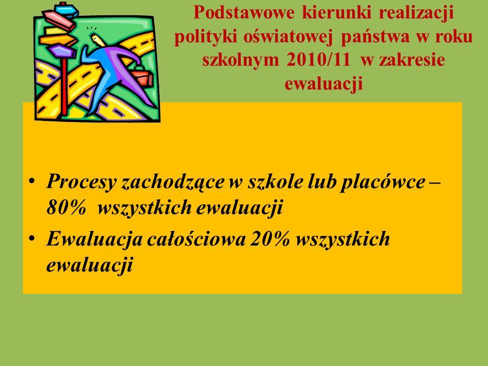 Podstawowe kierunki realizacji polityki oświatowej państwa w roku szkolnym 2010/11 w zakresie ewaluacji Procesy zachodzące w szkole lub placówce – 80%