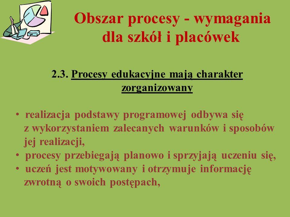 Obszar procesy - wymagania dla szkół i placówek 2.3. Procesy edukacyjne mają charakter zorganizowany realizacja podstawy programowej odbywa się z wyko
