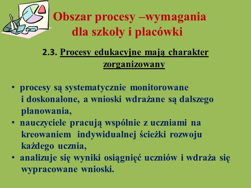Obszar procesy –wymagania dla szkoły i placówki 2.3. Procesy edukacyjne mają charakter zorganizowany procesy są systematycznie monitorowane i doskonal