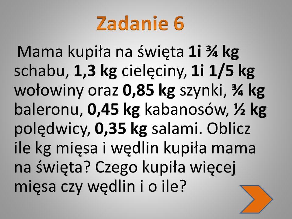 Mama kupiła na święta 1i ¾ kg schabu, 1,3 kg cielęciny, 1i 1/5 kg wołowiny oraz 0,85 kg szynki, ¾ kg baleronu, 0,45 kg kabanosów, ½ kg polędwicy, 0,35