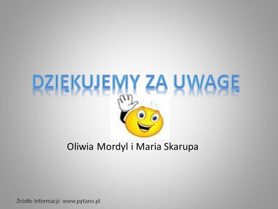 Źródło informacji: www.pytano.pl Oliwia Mordyl i Maria Skarupa