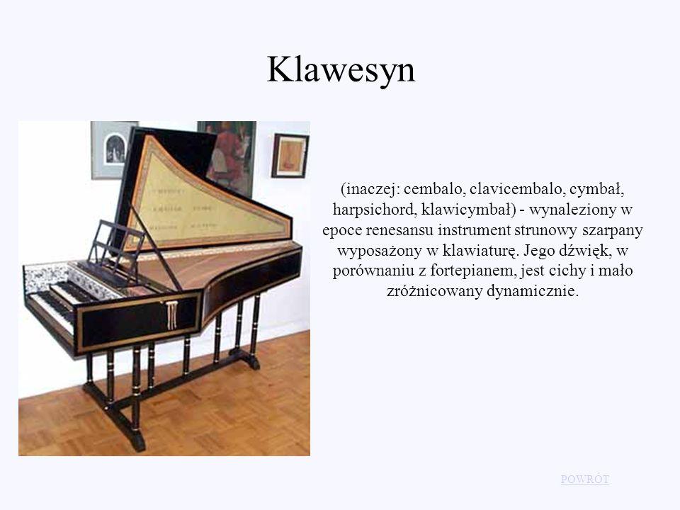 POWRÓT Klawesyn (inaczej: cembalo, clavicembalo, cymbał, harpsichord, klawicymbał) - wynaleziony w epoce renesansu instrument strunowy szarpany wyposa