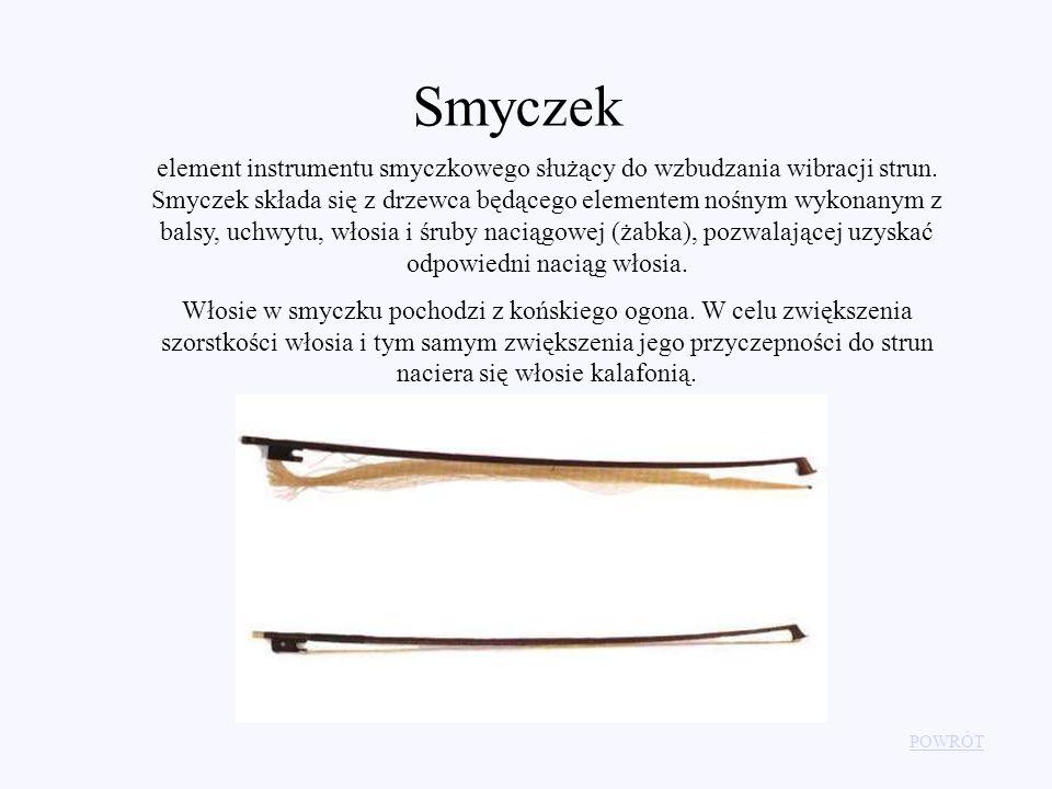 Smyczek POWRÓT element instrumentu smyczkowego służący do wzbudzania wibracji strun. Smyczek składa się z drzewca będącego elementem nośnym wykonanym