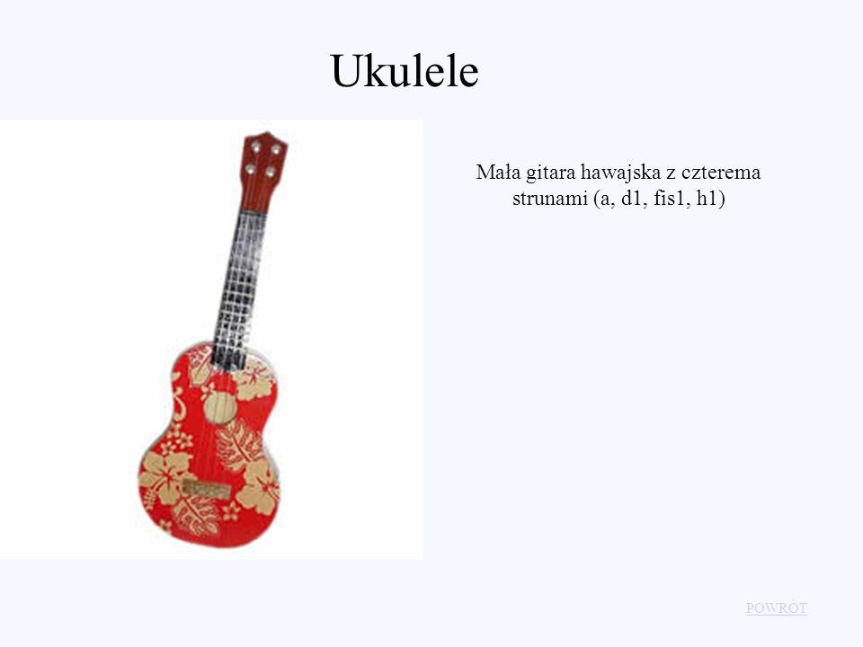 Ukulele POWRÓT Mała gitara hawajska z czterema strunami (a, d1, fis1, h1)