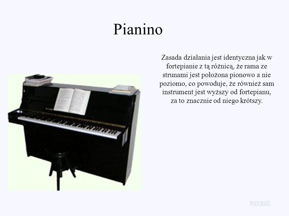 Pianino Zasada działania jest identyczna jak w fortepianie z tą różnicą, że rama ze strunami jest położona pionowo a nie poziomo, co powoduje, że równ