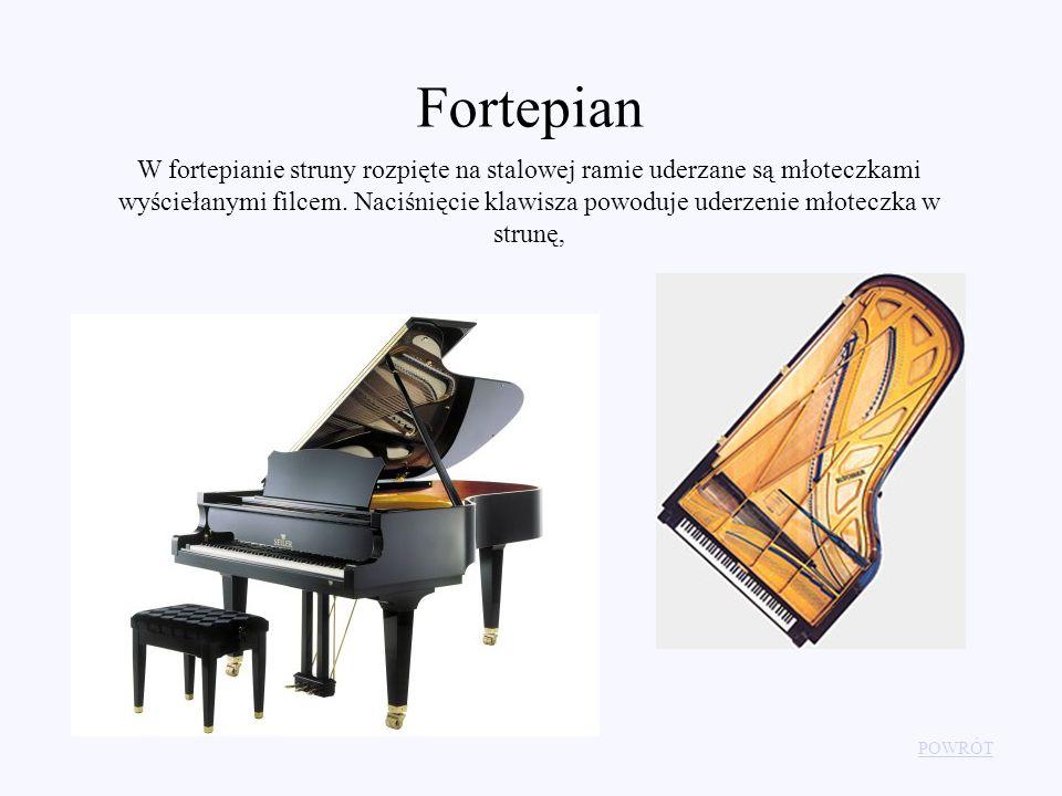 Fortepian W fortepianie struny rozpięte na stalowej ramie uderzane są młoteczkami wyściełanymi filcem. Naciśnięcie klawisza powoduje uderzenie młotecz