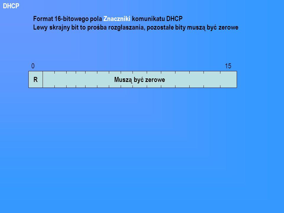 RMuszą być zerowe 0 15 Format 16-bitowego pola Znaczniki komunikatu DHCP Lewy skrajny bit to prośba rozgłaszania, pozostałe bity muszą być zerowe DHCP