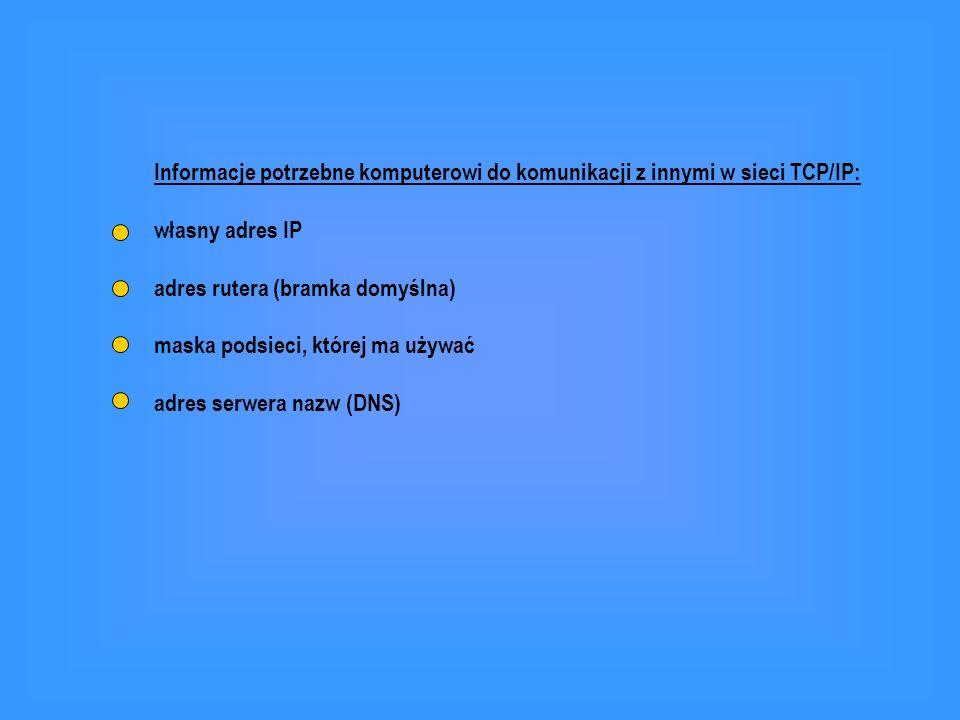 Informacje potrzebne komputerowi do komunikacji z innymi w sieci TCP/IP: własny adres IP adres rutera (bramka domyślna) maska podsieci, której ma używ