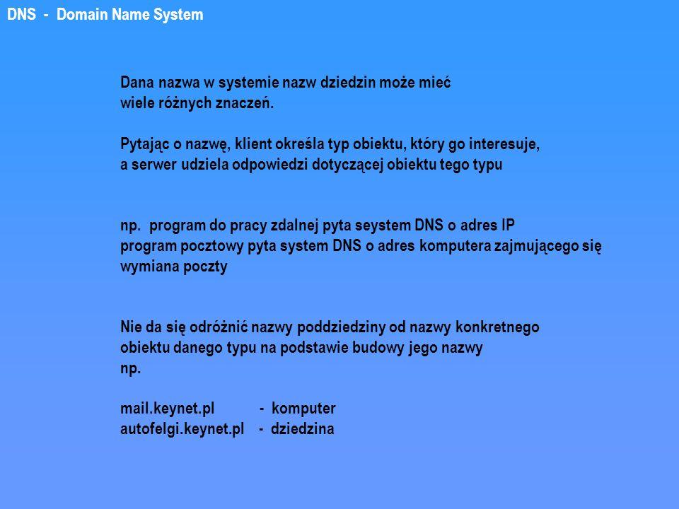 DNS - Domain Name System Dana nazwa w systemie nazw dziedzin może mieć wiele różnych znaczeń. Pytając o nazwę, klient określa typ obiektu, który go in