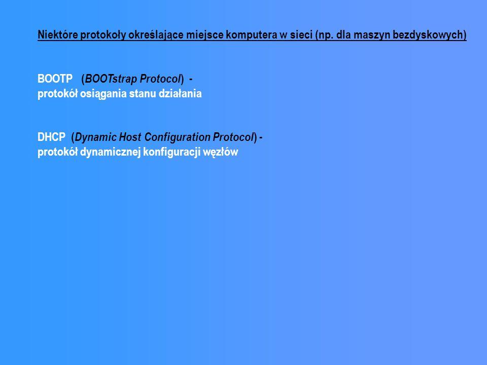 Niektóre protokoły określające miejsce komputera w sieci (np. dla maszyn bezdyskowych) BOOTP ( BOOTstrap Protocol ) - protokół osiągania stanu działan