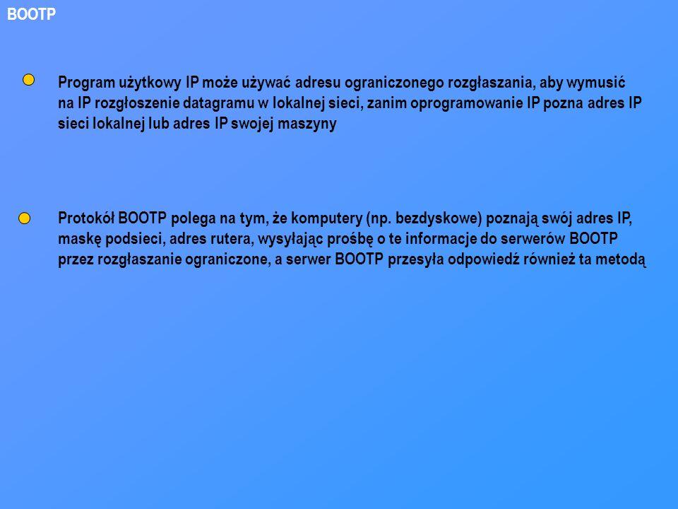 BOOTP Program użytkowy IP może używać adresu ograniczonego rozgłaszania, aby wymusić na IP rozgłoszenie datagramu w lokalnej sieci, zanim oprogramowan