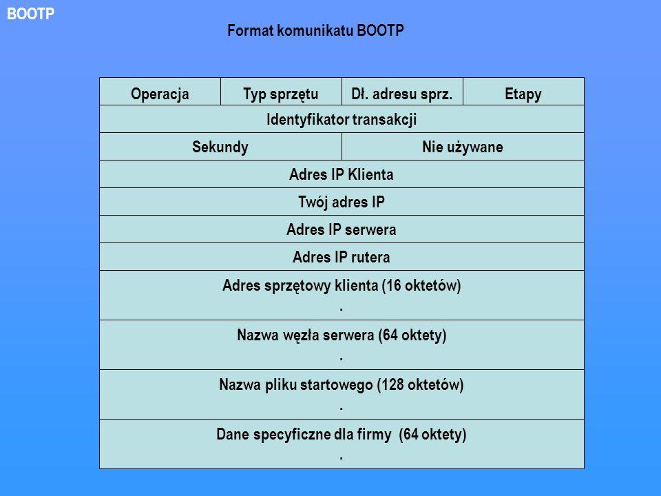 OperacjaTyp sprzętuDł. adresu sprz.Etapy Identyfikator transakcji SekundyNie używane Adres IP Klienta Twój adres IP Adres IP serwera Adres IP rutera A