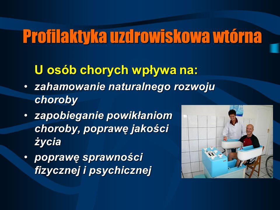 Profilaktyka uzdrowiskowa pierwotna Dla kogo jest wskazana: –osobom z czynnikami ryzyka –osobom zdrowym z obciążeniem dziedzicznym chorobami (cukrzyca