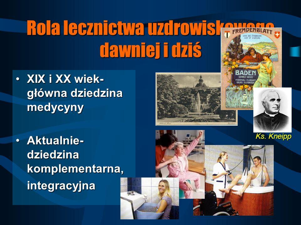 Rola lecznictwa uzdrowiskowego dawniej i dziś XIX i XX wiek- główna dziedzina medycynyXIX i XX wiek- główna dziedzina medycyny Aktualnie- dziedzina komplementarna,Aktualnie- dziedzina komplementarna,integracyjna Ks.
