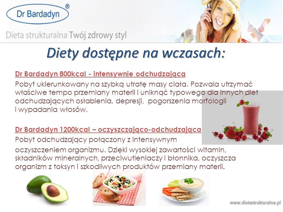 Diety dostępne na wczasach: Dr Bardadyn 800kcal - intensywnie odchudzająca Pobyt ukierunkowany na szybką utratę masy ciała. Pozwala utrzymać właściwe