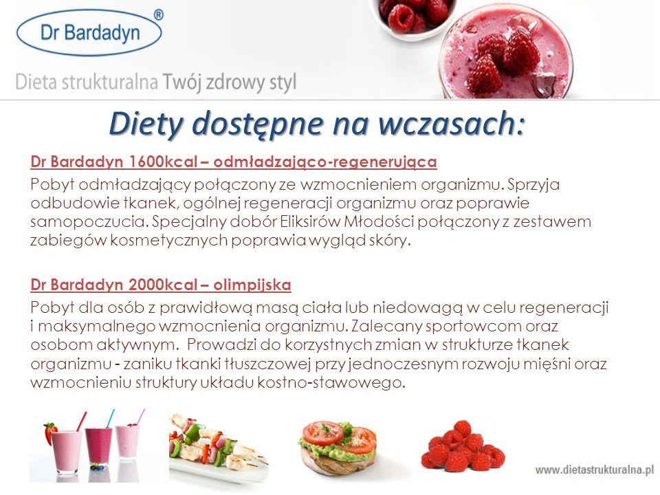 Diety dostępne na wczasach: Dr Bardadyn 1600kcal – odmładzająco-regenerująca Pobyt odmładzający połączony ze wzmocnieniem organizmu. Sprzyja odbudowie
