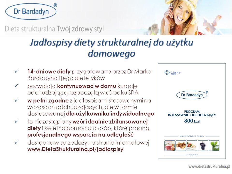 Jadłospisy diety strukturalnej do użytku domowego 14-dniowe diety przygotowane przez Dr Marka Bardadyna i jego dietetyków pozwalają kontynuować w domu