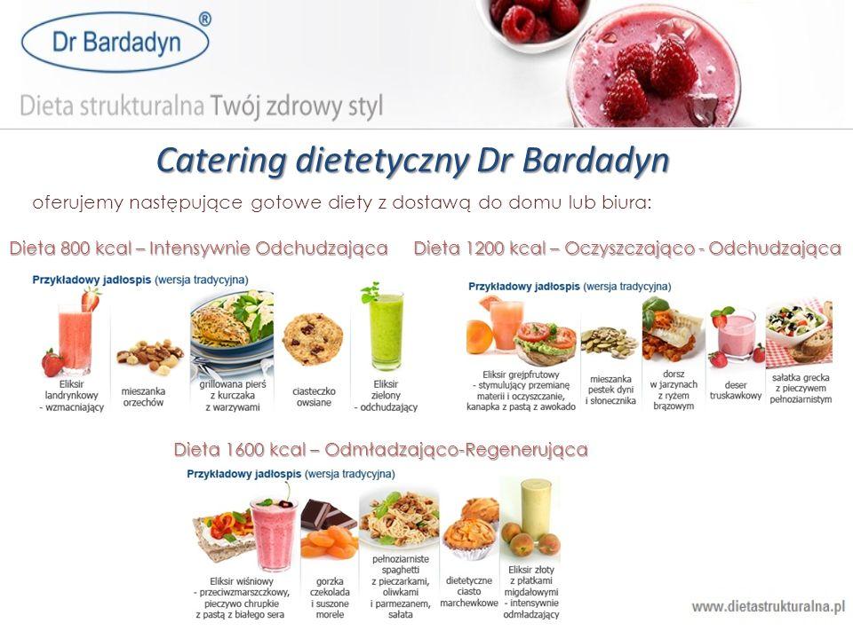 Catering dietetyczny Dr Bardadyn oferujemy następujące gotowe diety z dostawą do domu lub biura: Dieta 800 kcal – Intensywnie Odchudzająca Dieta 1200
