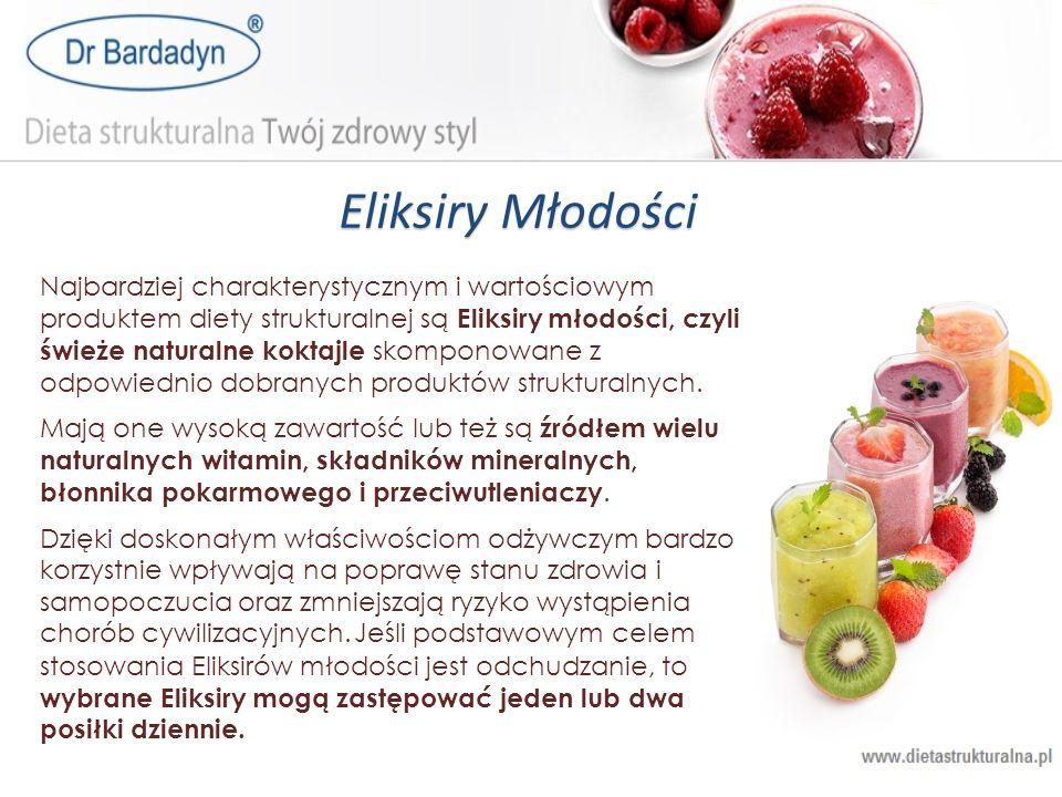 Eliksiry Młodości Najbardziej charakterystycznym i wartościowym produktem diety strukturalnej są Eliksiry młodości, czyli świeże naturalne koktajle sk