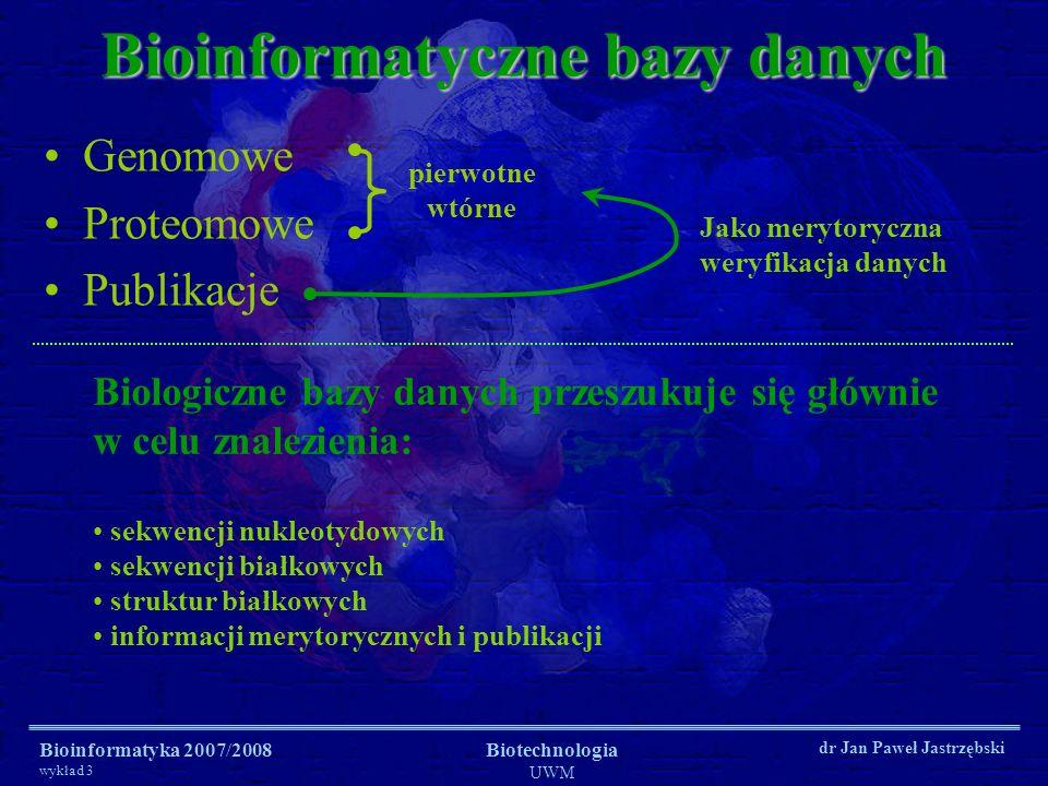 Bioinformatyka 2007/2008 wykład 3 Biotechnologia UWM dr Jan Paweł Jastrzębski Bioinformatyczne bazy danych Genomowe Proteomowe Publikacje Jako merytor