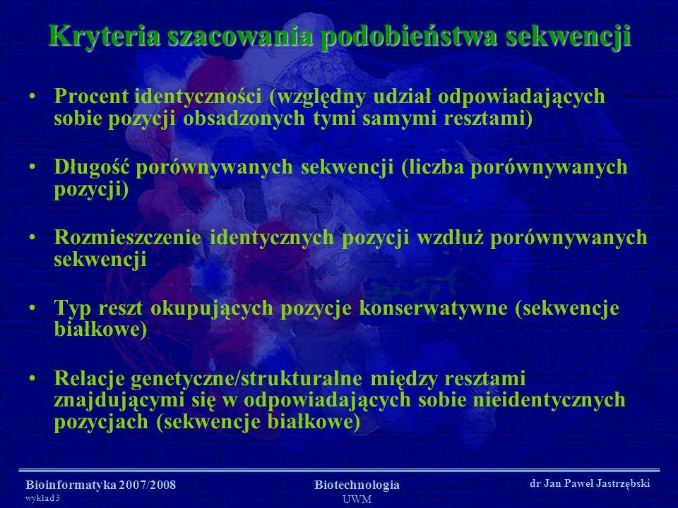 Bioinformatyka 2007/2008 wykład 3 Biotechnologia UWM dr Jan Paweł Jastrzębski Procent identyczności (względny udział odpowiadających sobie pozycji obs