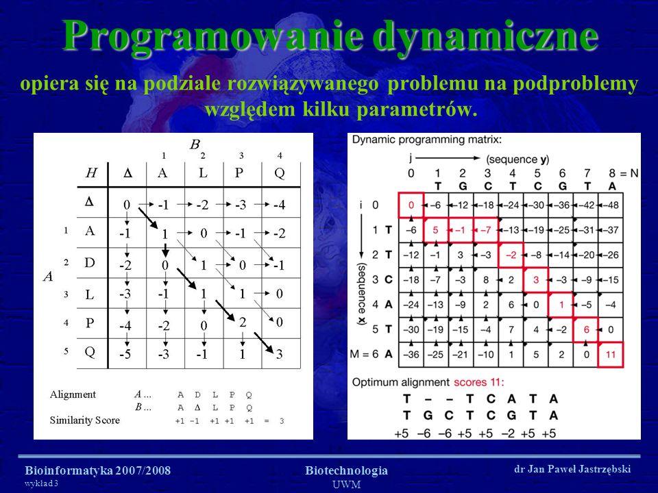 Bioinformatyka 2007/2008 wykład 3 Biotechnologia UWM dr Jan Paweł Jastrzębski Programowanie dynamiczne opiera się na podziale rozwiązywanego problemu