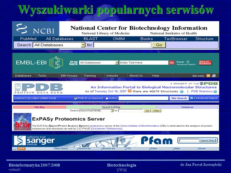 Bioinformatyka 2007/2008 wykład 3 Biotechnologia UWM dr Jan Paweł Jastrzębski Wyszukiwarki popularnych serwisów