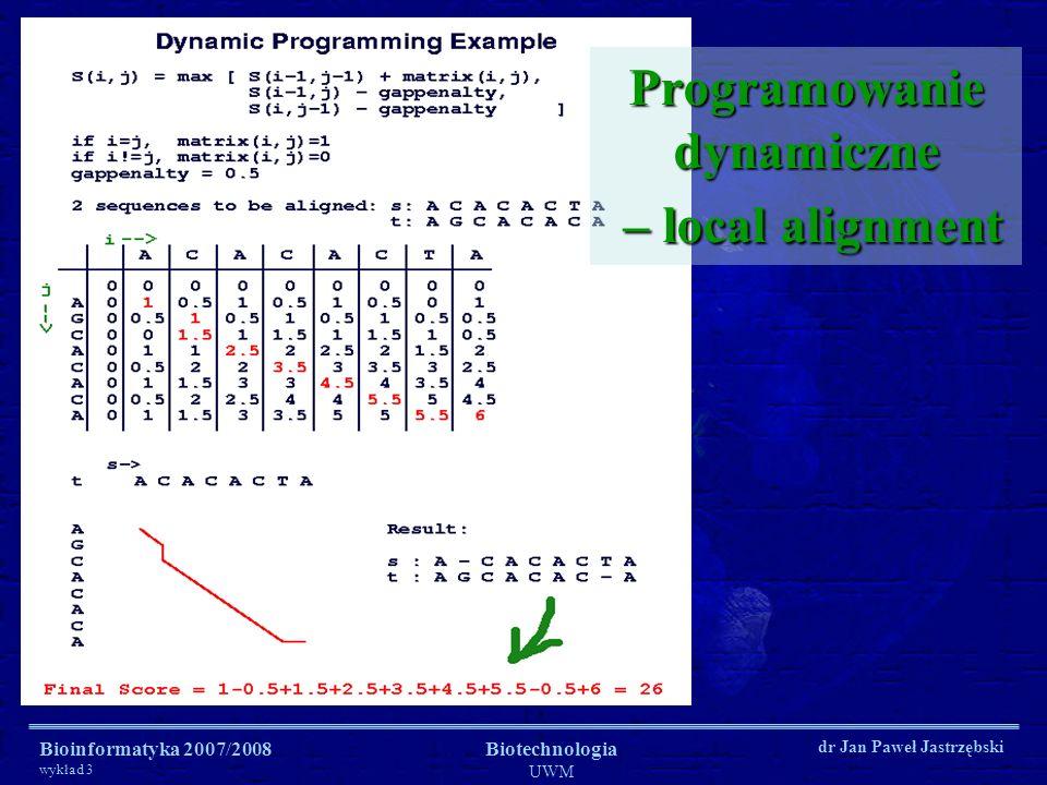 Bioinformatyka 2007/2008 wykład 3 Biotechnologia UWM dr Jan Paweł Jastrzębski Programowanie dynamiczne – local alignment