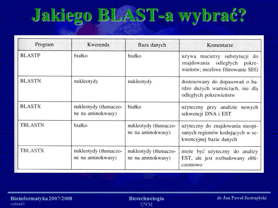 Bioinformatyka 2007/2008 wykład 3 Biotechnologia UWM dr Jan Paweł Jastrzębski Jakiego BLAST-a wybrać?