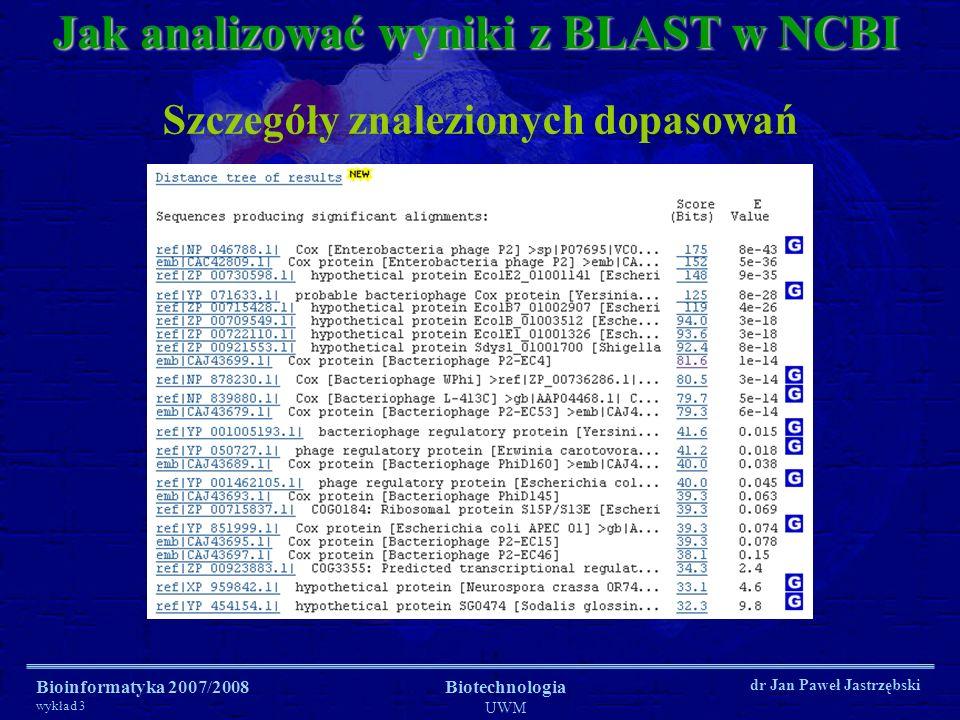 Bioinformatyka 2007/2008 wykład 3 Biotechnologia UWM dr Jan Paweł Jastrzębski Jak analizować wyniki z BLAST w NCBI Szczegóły znalezionych dopasowań