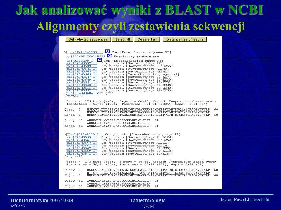 Bioinformatyka 2007/2008 wykład 3 Biotechnologia UWM dr Jan Paweł Jastrzębski Jak analizować wyniki z BLAST w NCBI Alignmenty czyli zestawienia sekwen