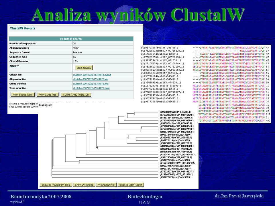 Bioinformatyka 2007/2008 wykład 3 Biotechnologia UWM dr Jan Paweł Jastrzębski Analiza wyników ClustalW