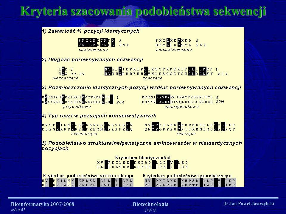 Bioinformatyka 2007/2008 wykład 3 Biotechnologia UWM dr Jan Paweł Jastrzębski Kryteria szacowania podobieństwa sekwencji